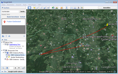 Google Earth beinhaltet die nötiegn Werkzeuge zum Messen von Azimuth (und Distanz)